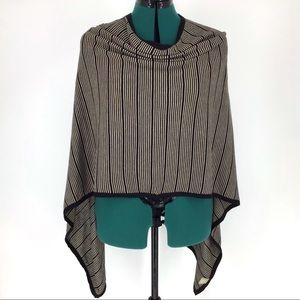 Calvin Klein Striped Sweater Poncho, OS